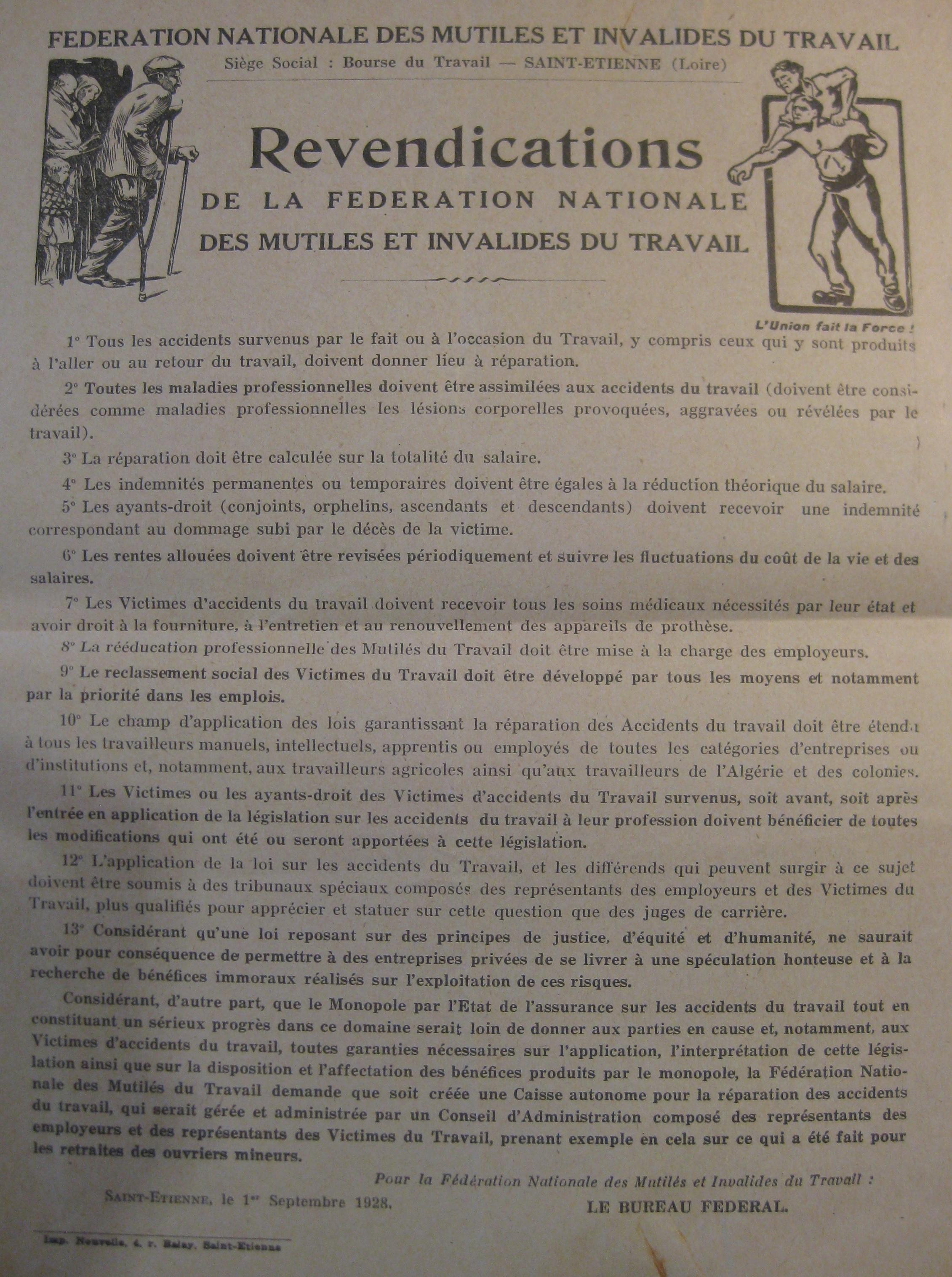 Affiche des revendications de la Fédération nationale des mutilés et invalides du travail
