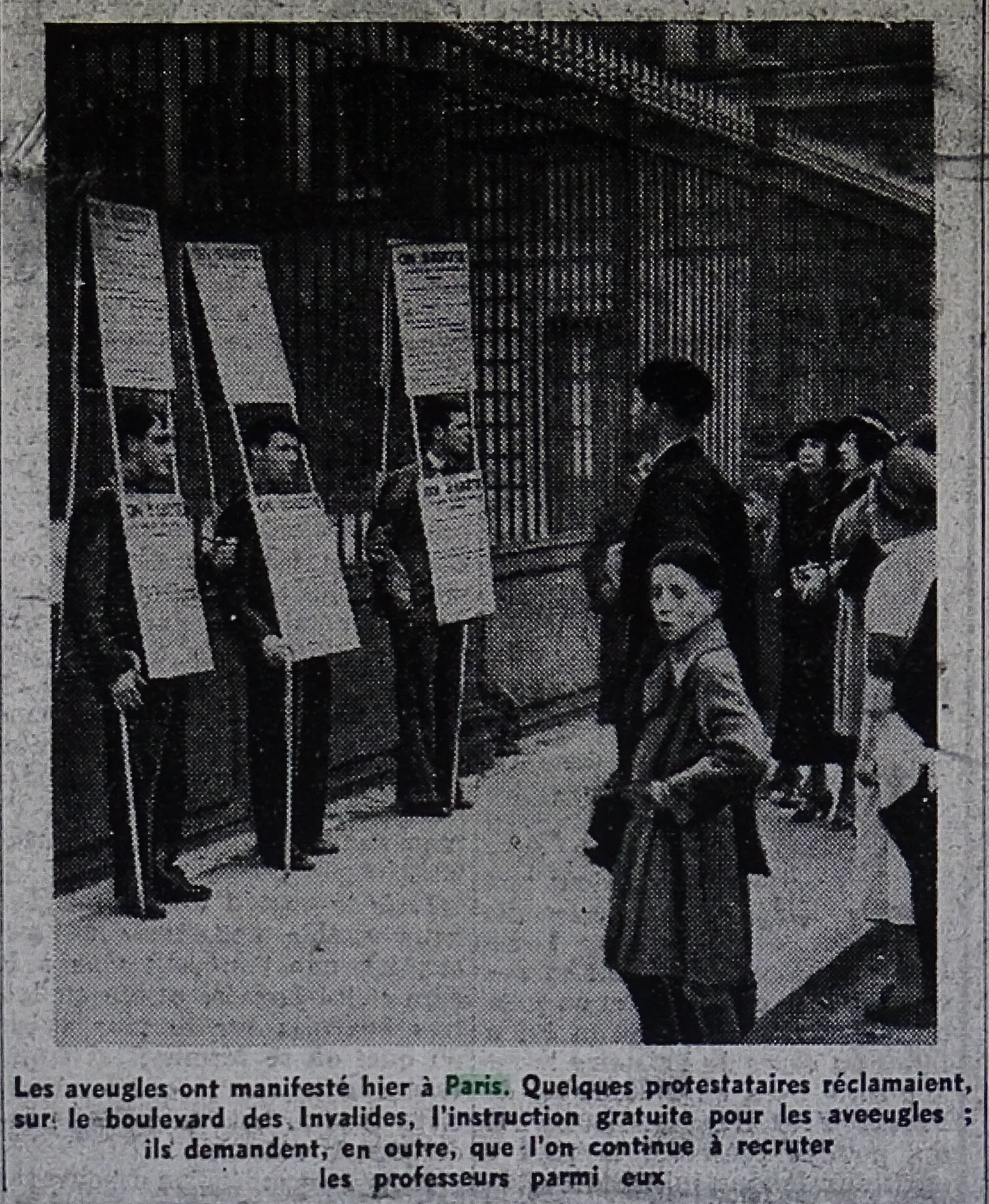 Manifestation des aveugles à Paris en mai 1939